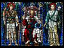 Christ with Angels Religious Stained Glass Window