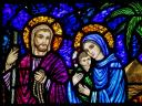 Christmas Jesus Mary and Joseph Stained-Glass Window
