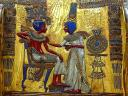 Tutankhamun with Wife on Golden Throne Museum of Antiquities in Cairo Egypt