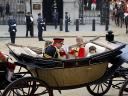 Royal Wedding England Prince Harry with  Master Tom Pettifer, Eliza Lopes and Lady Louise Windsor ride to Buckingham Palace in London