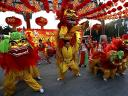 Lion Dance at Temple of Earth Ditan Park in Beijing China