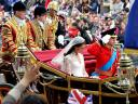 Royal Wedding England Prince William and his wife traveling along Processional Route towards Buckingham Palace London