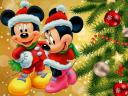 Christmas Greeting Card with Mickey and Minnie Mouse