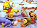 Disney Winter Winnie the Pooh and Friends on Skating-Rink Wallpaper