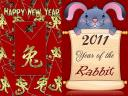 Happy New Year with Rabbit as Chinese Zodiac Sign