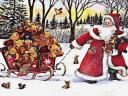 Santa Claus Sled with Teddy Bears