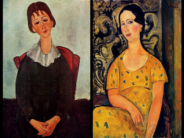 Amedeo Modigliani Girl on a Chair and Young Woman in a Yellow Dress - Portrait paintings with oil on canvas, made by the Italian artist Amedeo Modigliani in 1918 - 'Girl on a chair' (aka Mademoiselle Huguette) and 'Young Woman in a Yellow Dress' (aka Madame Modot) , classically simple in flat forms and delicate stylization. - , Amedeo, Modigliani, girl, girls, chair, chairs, young, woman, women, yellow, dress, dresses, art, arts, painter, painters, artist, artists, sculptor, sculptors, Expressionist, Expressionists, portrait, portraits, paintings, painting, oil, canvas, Italian, artist, artists, 1918, Mademoiselle, Huguette, Madame, Modot, classically, simple, forms, form, delicate, stylization - Portrait paintings with oil on canvas, made by the Italian artist Amedeo Modigliani in 1918 - 'Girl on a chair' (aka Mademoiselle Huguette) and 'Young Woman in a Yellow Dress' (aka Madame Modot) , classically simple in flat forms and delicate stylization. Solve free online Amedeo Modigliani Girl on a Chair and Young Woman in a Yellow Dress puzzle games or send Amedeo Modigliani Girl on a Chair and Young Woman in a Yellow Dress puzzle game greeting ecards  from puzzles-games.eu.. Amedeo Modigliani Girl on a Chair and Young Woman in a Yellow Dress puzzle, puzzles, puzzles games, puzzles-games.eu, puzzle games, online puzzle games, free puzzle games, free online puzzle games, Amedeo Modigliani Girl on a Chair and Young Woman in a Yellow Dress free puzzle game, Amedeo Modigliani Girl on a Chair and Young Woman in a Yellow Dress online puzzle game, jigsaw puzzles, Amedeo Modigliani Girl on a Chair and Young Woman in a Yellow Dress jigsaw puzzle, jigsaw puzzle games, jigsaw puzzles games, Amedeo Modigliani Girl on a Chair and Young Woman in a Yellow Dress puzzle game ecard, puzzles games ecards, Amedeo Modigliani Girl on a Chair and Young Woman in a Yellow Dress puzzle game greeting ecard