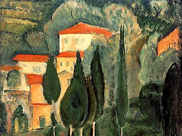 Amedeo Modigliani Landscape Southern France - A fragment of the famous painting 'Landscape Southern France' by Amedeo Modigliani (1919, oil on canvas, Galerie Karsten Greve, Cologne, Germany), one of the total of four landscapes painted early in his career in the spring of 1918 when he spent one year at the Cote d'Azur, South of France. - , Amedeo, Modigliani, landscape, landscapes, Southern, France, art, arts, painter, painters, artist, artists, sculptor, sculptors, Expressionist, Expressionists, fragment, fragments, famous, painting, paintings, 1919, oil, canvas, Galerie, Karsten, Greve, Cologne, Germany, total, early, career, careers, spring, 1918, year, years, Cote, d'Azur, South - A fragment of the famous painting 'Landscape Southern France' by Amedeo Modigliani (1919, oil on canvas, Galerie Karsten Greve, Cologne, Germany), one of the total of four landscapes painted early in his career in the spring of 1918 when he spent one year at the Cote d'Azur, South of France. Solve free online Amedeo Modigliani Landscape Southern France puzzle games or send Amedeo Modigliani Landscape Southern France puzzle game greeting ecards  from puzzles-games.eu.. Amedeo Modigliani Landscape Southern France puzzle, puzzles, puzzles games, puzzles-games.eu, puzzle games, online puzzle games, free puzzle games, free online puzzle games, Amedeo Modigliani Landscape Southern France free puzzle game, Amedeo Modigliani Landscape Southern France online puzzle game, jigsaw puzzles, Amedeo Modigliani Landscape Southern France jigsaw puzzle, jigsaw puzzle games, jigsaw puzzles games, Amedeo Modigliani Landscape Southern France puzzle game ecard, puzzles games ecards, Amedeo Modigliani Landscape Southern France puzzle game greeting ecard