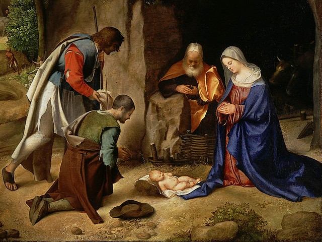 Christmas Card Adoration Of The Shepherds Giorgio Da Castelfranco A Fragment