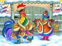 Chinese New Year 2017 Rooster and Hen Postcard