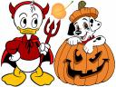 Disney Halloween Baby Donald Duck and Dalmatian Puppy Wallpaper
