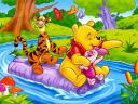 Disney Summer Winnie the Pooh and Friends Downstream the River Wallpaper