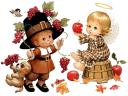 Thanksgiving Ruth Morehead Kids and Autumn Fruits Greeting Card