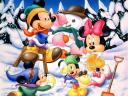 Disney Winter Mickey Mouse and Family Wallpaper